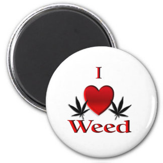I Heart Weed 2 Inch Round Magnet