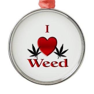 I Heart Weed Christmas Ornaments