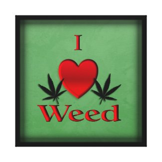 I Heart Weed Green Wrapped Canvas Print
