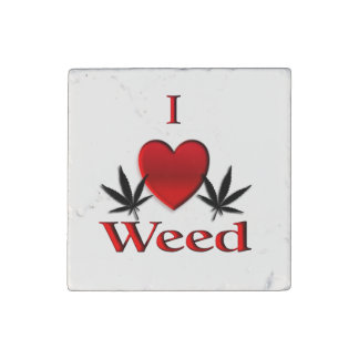 I Heart Weed Stone Magnet