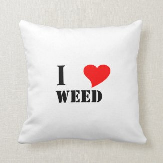 I heart weed throw pillow