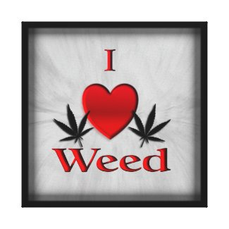 I Heart Weed Wrapped Canvas Print