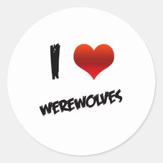I Heart Werewolves Classic Round Sticker