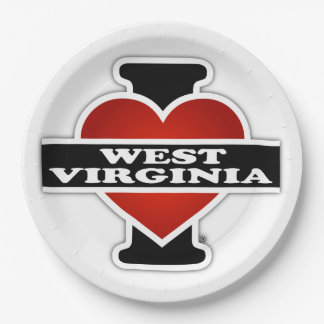 I Heart West Virginia Paper Plate