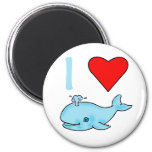 I Heart Whales Products 2 Inch Round Magnet
