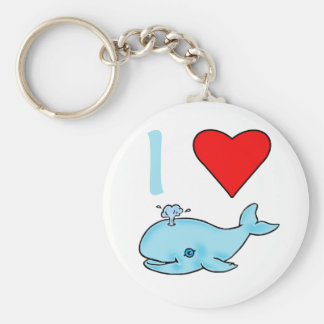 I Heart Whales Products Basic Round Button Keychain