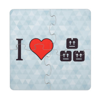 I Heart When Items Are Delivered Puzzle Coaster