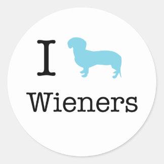 I Heart Wieners Classic Round Sticker