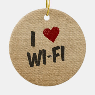 I Heart WiFi Burlap Ceramic Ornament