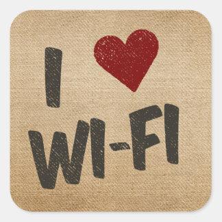 I Heart WiFi Burlap Square Sticker