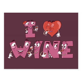 I Heart Wine Characters Post Cards