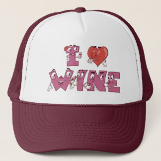 I Heart Wine Characters Trucker Hat