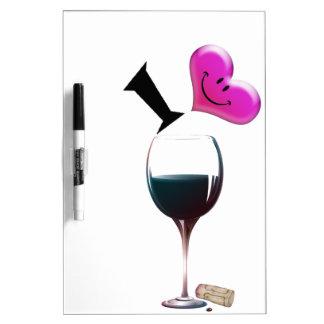 I Heart Wine Dry Erase White Board