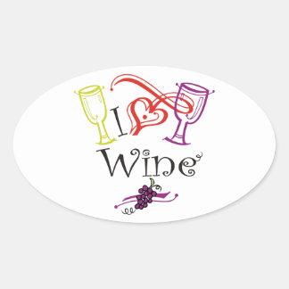 I Heart Wine Oval Sticker