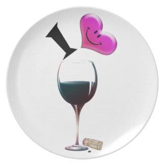 I Heart Wine Dinner Plates