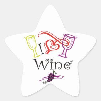 I Heart Wine Star Sticker