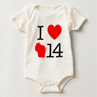 I Heart Wisconsin 14 Baby Bodysuit