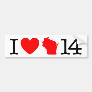 I Heart Wisconsin 14 Bumper Sticker