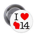 I Heart Wisconsin 14 Pinback Buttons