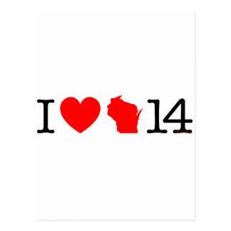 I Heart Wisconsin 14 Postcard