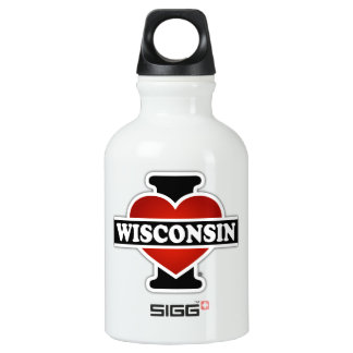 I Heart Wisconsin Aluminum Water Bottle