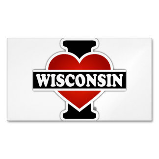 I Heart Wisconsin Business Card Magnet