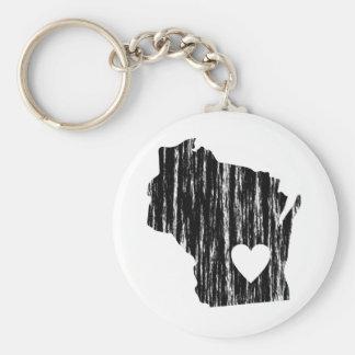 I Heart Wisconsin Grunge Worn Outline State Love Keychain