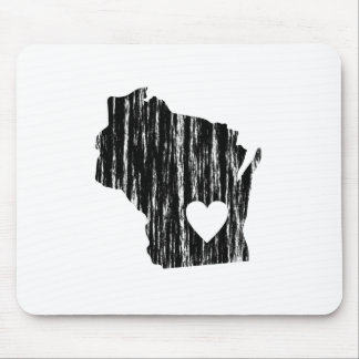 I Heart Wisconsin Grunge Worn Outline State Love Mouse Pad