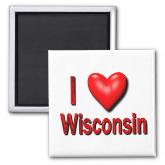 I Heart Wisconsin 2 Inch Square Magnet