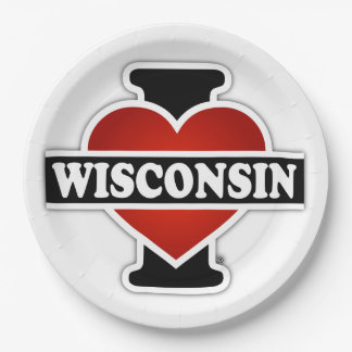 I Heart Wisconsin Paper Plate