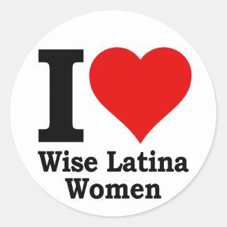 I (heart) Wise Latina Women Classic Round Sticker