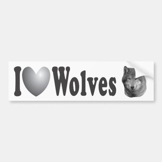 I Heart Wolves2 w/Stylized Image - Bumper Sticker