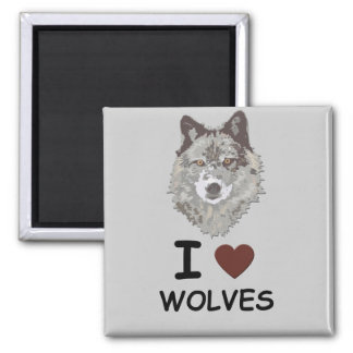 I HEART WOLVES 2 INCH SQUARE MAGNET