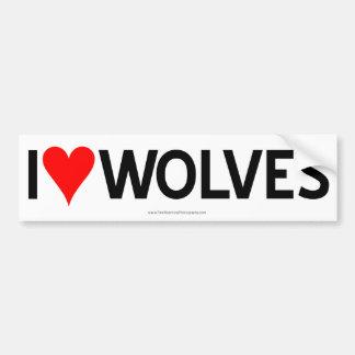 I Heart Wolves Car Bumper Sticker