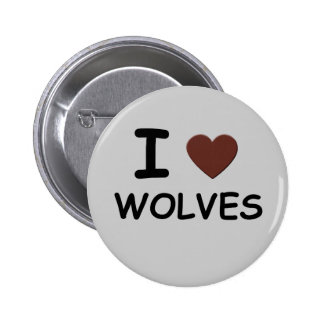 I HEART WOLVES PINBACK BUTTON