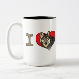 I heart wolves Two-Tone coffee mug