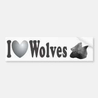 I Heart Wolves w/Howling Wolf Image - Bumper Stick Bumper Sticker