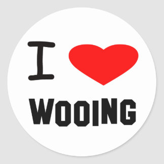 i heart wooing round stickers