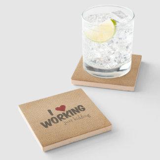 I Heart Working Just Kidding Funny Burlap Stone Beverage Coaster