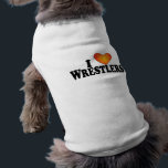 """I (heart) Wrestlers - Dog T-Shirt<br><div class=""""desc"""">Here&#39;s a cute T-Shirt for your dog that speaks to who you are. Let people know what your dog likes. Advertise who you are and what turns you on. Catch someone&#39;s eye and begin a conversation.</div>"""