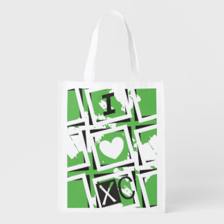 I Heart XC Running - Green I Love Cross Country Grocery Bag