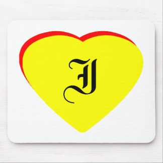 """I"" Heart Yellow Red Wedding Invitation The MUSEUM Mouse Pad"