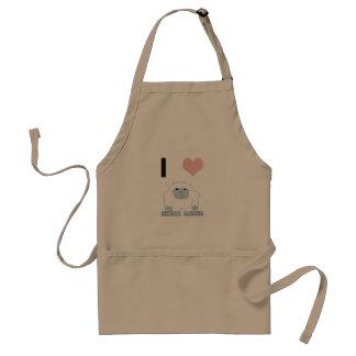 I heart yeti adult apron
