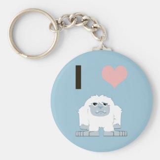 I heart yeti basic round button keychain