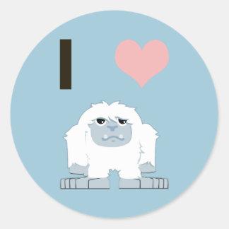 I heart yeti classic round sticker