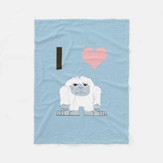 I heart yeti fleece blanket