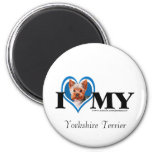 I Heart Yorkshire Terrier-Blue-Magnet 2 Inch Round Magnet