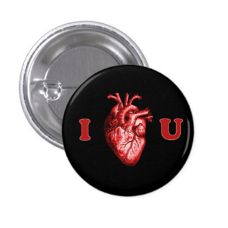 I Heart You Anatomical Heart - Black & Red Pinback Button