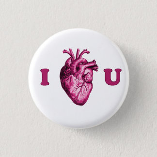 I Heart You Anatomical Heart - White & Pink Pinback Button