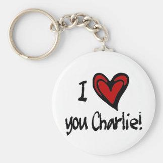 I heart you Charlie Key Chain